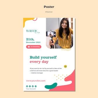 Pionowy plakat dla influencerki w mediach społecznościowych