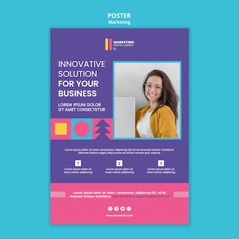 Pionowy plakat dla kreatywnej agencji marketingowej
