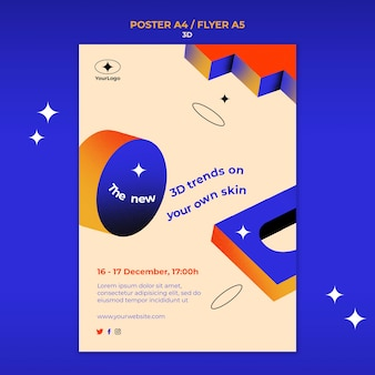 Pionowy Plakat Dla Trendów 3d Darmowe Psd