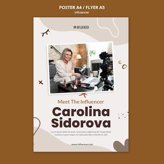 Pionowy plakat dla vloggerki urody z młodą kobietą