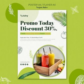 Pionowy plakat dla wegańskiej firmy dostarczającej soki