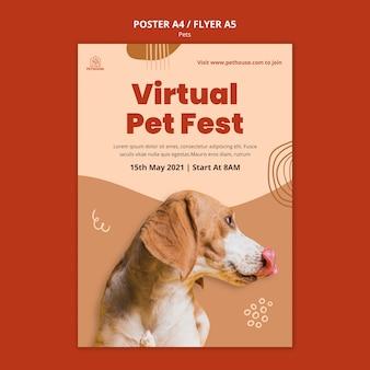 Pionowy plakat dla zwierząt domowych z uroczym psem