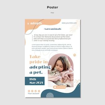 Pionowy plakat do adopcji zwierzaka