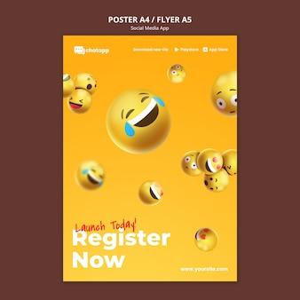 Pionowy plakat do aplikacji do czatowania w mediach społecznościowych z emoji