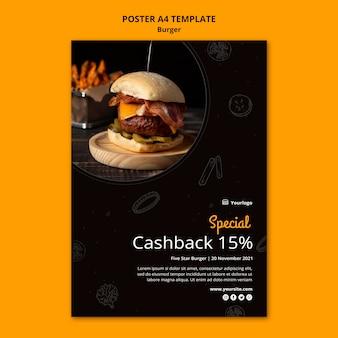 Pionowy plakat do burger bistro