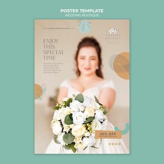 Pionowy plakat do eleganckiego butiku ślubnego