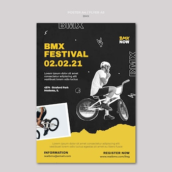 Pionowy plakat do jazdy na rowerze bmx z człowiekiem i rowerem