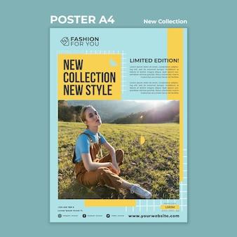 Pionowy plakat do kolekcji mody z kobietą w przyrodzie
