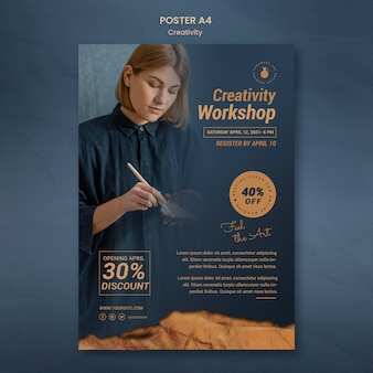 Pionowy plakat do kreatywnych warsztatów garncarskich z kobietą