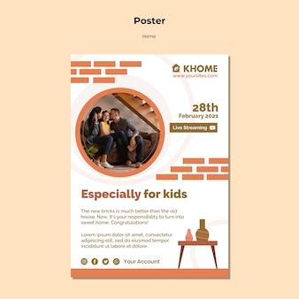 Pionowy plakat do nowego domu rodzinnego