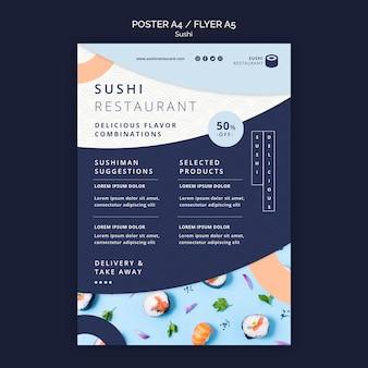 Pionowy plakat do restauracji sushi