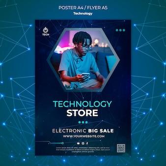 Pionowy plakat do sklepu techno