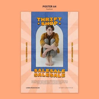 Pionowy plakat do sprzedaży ubrań w sklepie z odzieżą używaną