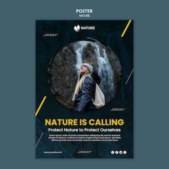Pionowy plakat dotyczący ochrony i zachowania przyrody