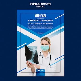 Pionowy plakat dotyczący szczepień przeciwko koronawirusowi