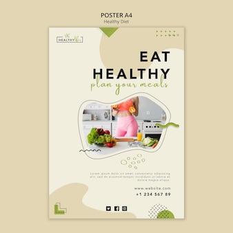 Pionowy plakat dotyczący zdrowego odżywiania