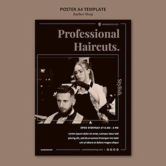 Pionowy plakat fryzjerski