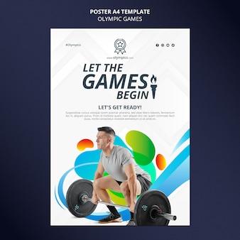 Pionowy plakat igrzysk olimpijskich ze zdjęciem
