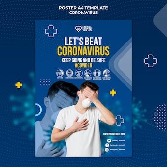 Pionowy plakat informujący o koronawirusie