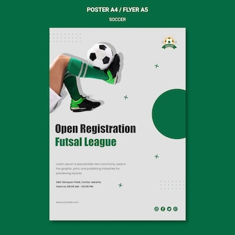 Pionowy plakat ligi kobiecej piłki nożnej