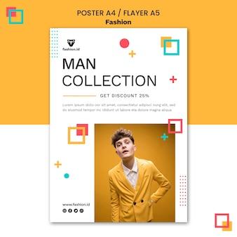 Pionowy plakat modowy z męskim modelem