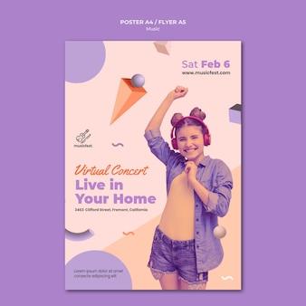 Pionowy plakat muzyczny z kobietą korzystającą ze słuchawek i tańczącą