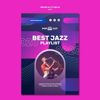 Pionowy plakat muzyczny z męskim muzykiem jazzowym i saksofonem