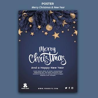 Pionowy plakat na boże narodzenie i nowy rok