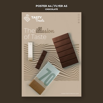 Pionowy plakat na czekoladę