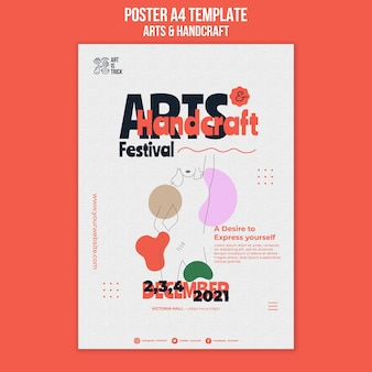 Pionowy plakat na festiwal sztuki i rzemiosła