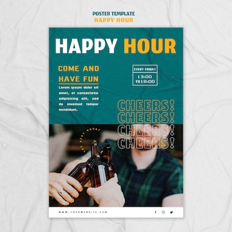 Pionowy plakat na happy hour
