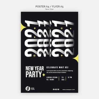 Pionowy plakat na imprezę noworoczną