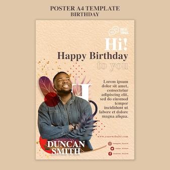 Pionowy plakat na obchody rocznicy urodzin