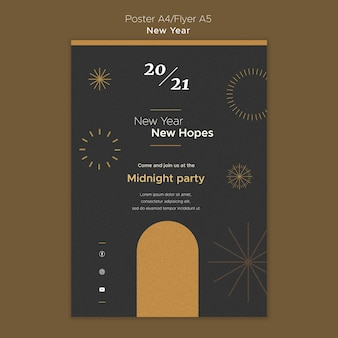 Pionowy plakat na przyjęcie noworoczne o północy