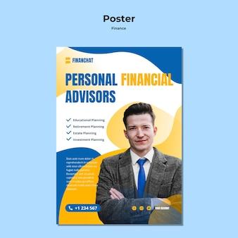 Pionowy plakat na seminarium biznesowe i finansowe