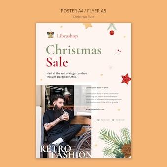Pionowy plakat na sprzedaż świąteczną