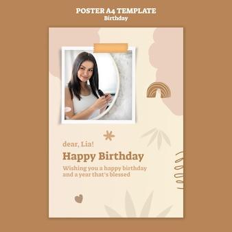 Pionowy plakat na urodziny