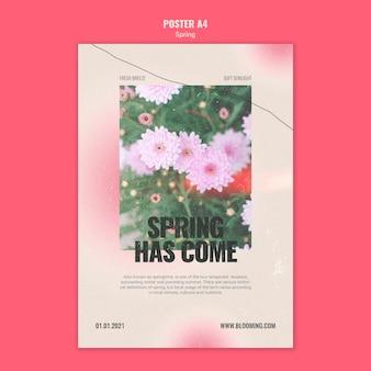 Pionowy plakat na wiosnę z kwiatami