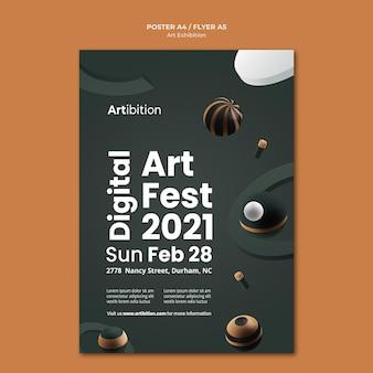 Pionowy plakat na wystawę sztuki z geometrycznymi kształtami