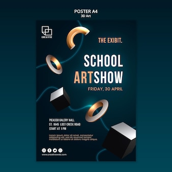 Pionowy plakat na wystawę sztuki z kreatywnymi trójwymiarowymi kształtami