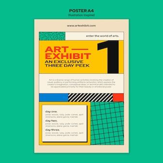 Pionowy plakat na wystawę sztuki