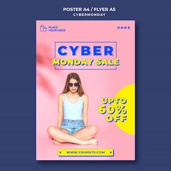 Pionowy plakat na zakupy w cyber poniedziałek