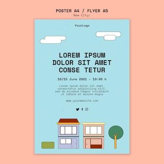 Pionowy plakat nowego miasta z budynkami