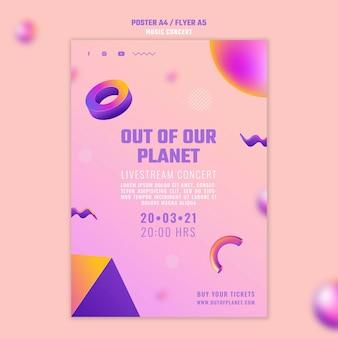 Pionowy plakat przedstawiający koncert muzyki z naszej planety