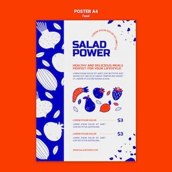 Pionowy plakat przedstawiający moc sałatek