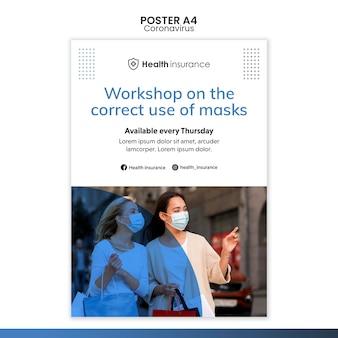 Pionowy plakat przedstawiający pandemię koronawirusa z maską medyczną