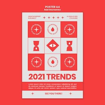 Pionowy plakat przedstawiający przegląd noworoczny i trendy