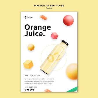 Pionowy plakat przedstawiający sok owocowy w szklanej butelce