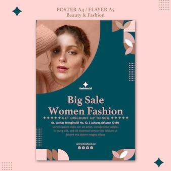 Pionowy plakat przedstawiający urodę i modę kobiet