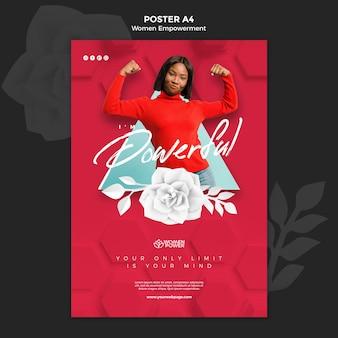 Pionowy plakat przedstawiający wzmocnienie pozycji kobiet z zachęcającym słowem